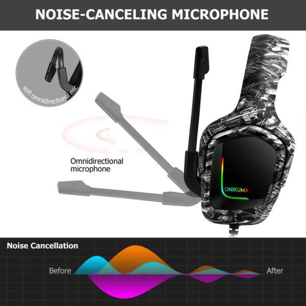 ONIKUMA K20 casque filaire avec Microphone RGB lumière jeux casques antibruit écouteurs pour PS4 Xbox One casque Gamer